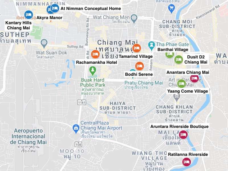 Mapa de zonas donde alojarse en Chiang Mai